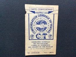 CARTE  CONFEDERALE CONFÉDÉRATION GÉNÉRALE DU TRAVAIL CGT 1965  Federation Nationale Des Travailleurs Des Chemins De Fer - Documentos Históricos
