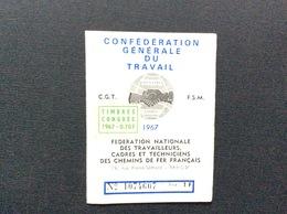 CARTE  CONFEDERALE CONFÉDÉRATION GÉNÉRALE DU TRAVAIL CGT 1967 * Federation Nationale Des Travailleurs Des Chemins De Fer - Documentos Históricos