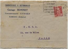 DAGUIN Temporaire Aubenas - Storia Postale