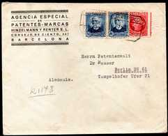 Spain Civil War To Germany Registered Cover 1938 - 1931-50 Storia Postale