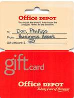 Office Depot Gift Card With Retail Hanger Still Attached - Cartes Cadeaux