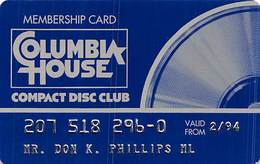 Columbia House Compact Disc Club Membership Card 1994 - Other