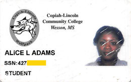 Copiah-Lincoln Community College Wesson MS - Student ID Card (scratched / Worn) - Other
