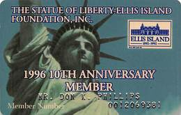 Statue Of Liberty Ellis Island Foundation 1996 10th Anniversary Member - Membership Card - Other Collections