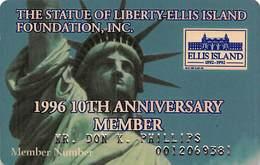 Statue Of Liberty Ellis Island Foundation 1996 10th Anniversary Member - Membership Card - Other