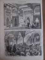 Gravure  1869 TURQUIE CONSTANTINOPLE   Bains Du Palais   TCHEGARAN   BAZAR DE STAMBUL ISTAMBUL - Old Paper