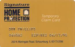 Signature Home Protection Temporary Claim Card - Other