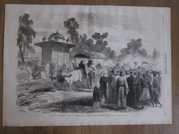 Gravure  1869 Constantinople Turquie ISTAMBUL   Sa Majesté Visite   Les Eaux Douces D Asie - Non Classés