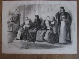 4 Gravure  1869  Italie ROMA ROMe LE Concile De Rome  Banc Des   PATRIARCHES  ARCHIMANDRITES CHAPELLE SIXTINE - Vieux Papiers