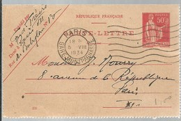 CARTE-LETTRE  1935 LIMOGES  -- GARE - Enteros Postales
