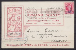 """CP Pub """"DELFT BITTER Armand Wanty Gentbrugge"""" Affr. N°247 Flam. """"GENT 10/ 6 III 1929/ GAND"""" Pour ANVERS - 1922-1927 Houyoux"""