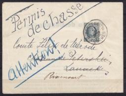"""Permis De Chasse Affr. N°193 Càd """"TONGEREN D/21 VI 1926/ TONGRES"""" Pour Comte Félix De Mérode à LANAEKE Réexpédié à RIXEN - 1922-1927 Houyoux"""