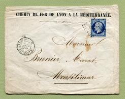 """AMBULANT : """" MARSEILLE A LYON 2° """"  1857 Sur TP N° 14 - Poststempel (Briefe)"""