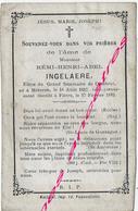 En 1883-Meteren Et Flêtre (59) élève Séminaire De Cambrai Rémi INGELAERE - Décès