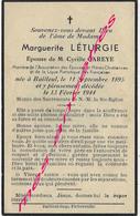En 1944-Staple Et Bailleul (59) Marguerite LETURGIE Ep Cyrille CAREYE Association Des Epouses Et Mères Chrétiennes - Décès