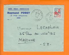 """53 Lettre De LE PAS Mayenne  Le 19 5 1967 Pour 53  MAYENNE Entete Pub """" GRAINS-ENGRAIS-PRODUITS De SOL """" - Advertising"""
