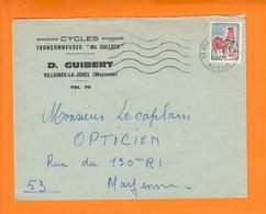 """53 Lettre De VILLAINES-LA-JUHEL  Mayenne 10 1 1967 Pour 53  MAYENNE Entete Pub """" CYCLES TRONCONNEUSES Mc CULLOCH """" - Advertising"""