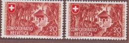 """SCHWEIZ 1941, Bundesfeier 20+10 Rp. """"Hohle Gasse"""", Bräunlichzinnober, Postfrisch - Abarten"""
