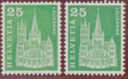 """SCHWEIZ 1963, 25 Rp. """"Baudenkmäler"""", Ab. """"Leuchtstoff Rückseitig"""", Postfrisch - Abarten"""