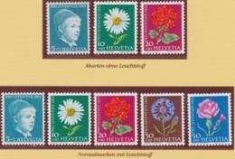 """SCHWEIZ 1963, Serie PJ, """"Blumen"""", Serie Mit Und Serie Ohne Leuchtstoff, Je Postfrisch - Abarten"""