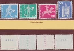 """SCHWEIZ 1963, Rollenmarken """"postgeschichtliche Motive"""", Serie Mit Kontrollnummern, Postfrisch - Abarten"""