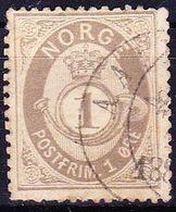 Norwegen1877 Schattiertes  Posthorn 1 Ore Braunlichgrau Michel 22 - Gebruikt