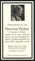 Sterbebild Hermine Weber Aus Mittbach, Gestorben 1940 - Dokumente