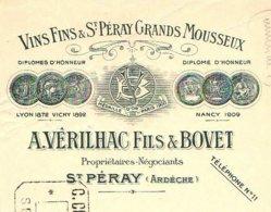 VERILHAC & BOVET   Vins Fins De SAINT PERAY   Ardèche  1913        Grands Mousseux - Lettres De Change