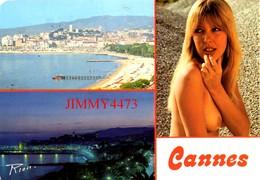 CPM - Une Belle Jeune Fille Aux Seins Nus - Vues De CANNES En 1984 - Edit. A. RION - Scans Recto-Verso - Pin-Ups
