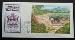 Antigua And Barbuda West Indies Giant Rice Rat 1989 Coconut Mouse (FDC) - Antigua Et Barbuda (1981-...)