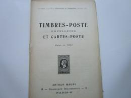 TIMBRES-POSTE, ENVELOPPES Et CARTES-POSTE Parus En 1913 (36 Pages) - Otros