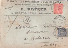 10c.+ 25c.semeuse Lignée Sur Lettre Recommandée Oblitéré CRECY EN BRIE - 1877-1920: Période Semi Moderne