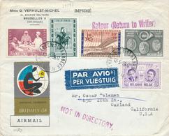 414/29 - Belgique Exposition Universelle BRUXELLES 1958 - Lettre Avion Vers USA + Vignette Expo + Divers Contenus - 1958 – Brussels (Belgium)