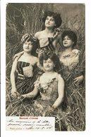 CPA - Carte Postale-Belgique -Bouquet D'Amour 4 Femmes Dans De La Paille-1906-VM4635 - Couples