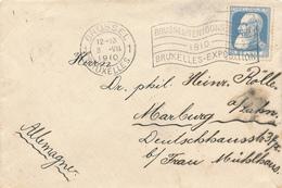 417/29 - Belgique Exposition Universelle BRUXELLES 1910 -  Lettre Cachet Mécanique EXPO Sur TP 25 C Grosse Barbe - Expositions Universelles