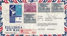 INDONESIE 1962 PLI AERIEN RECOMMANDE DE BANDUNG - Indonésie