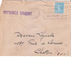 50c.semeuse Lignée Bleu Sur IMPRIMES URGENT Oblitérée PARIS - Marcophilie (Lettres)