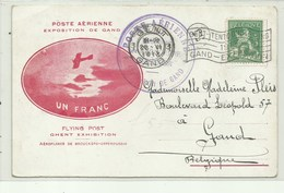 Poste Aërienne Exposition De Gand - Verzonden 23/6/1913 - Poste Aérienne