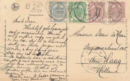 420/29 - Belgique Exposition Universelle BRUXELLES 1910 - Cachet Manuel Sur TP Armoiries Tricolore Sur Carte-Vue Vers NL - Weltausstellung