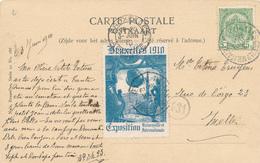 421/29 - Belgique Exposition Universelle BRUXELLES 1910 - TB Vignette Oblitérée Sur Carte-Vue TP Armoiries IXELLES - Wereldtentoonstellingen