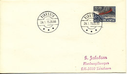 Faroe Islands Cover With Danish Stamp Klaksvik 29-1-1975 Sent To Torshavn - Faroe Islands