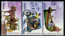 AG0217 Indonesia 2001 Transport Carriage Tricycle Boat And Other 3V MNH - Indonésie
