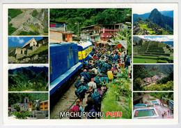 PERU' MACHU PICCHU          TREIN-TRAIN-TRENI-ZUG- STATION-BAHNHOF-GARE-STAZIONE   2  SCAN   (VIAGGIATA) - Trains
