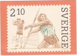 Frimärket 'Spjutkastning' - 18 Okt. 1986 - Sverige / Sweden - The 'Javelin-throwing' Stamp - 2,10 Kr. - Postzegels (afbeeldingen)