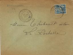 1893- Enveloppe Affr. 15 C Sage Oblit. Cad B De LONZAC ( Charente Maritime ) - Storia Postale