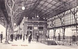 HENGELO 1913 STATION MET VOLK - MOOIE ANIMATIE - GELOPEN KAART - Hengelo (Ov)