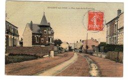 Carte Postale Ancienne.......NOGENT SUR OISE  RUE DE LA FONTAINE..carte Toilée SUPERBE TTB - France