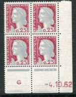 FRANCE ( COINS DATES ) : Y&T N°  1263  COIN  DATE  DU  04/10/62  TIMBRES  NEUFS  SANS  TRACE  DE  CHARNIERE . - 1960-1969