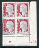 FRANCE ( COINS DATES ) : Y&T N°  1263  COIN  DATE  DU  11/02/63  TIMBRES  NEUFS  SANS  TRACE  DE  CHARNIERE . - Coins Datés