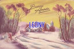"""CPSM 9X14  """"  BONNE ANNEE - PAYSAGE De NEIGE """" 1935 - Nouvel An"""
